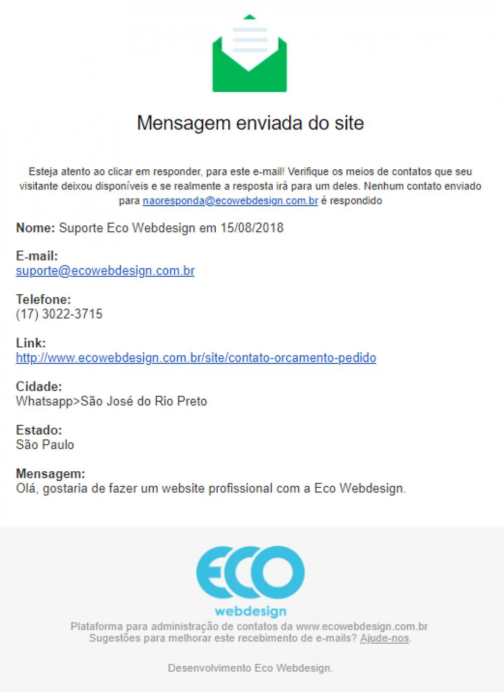 Formato correto para responder o contato - Eco Webdesign