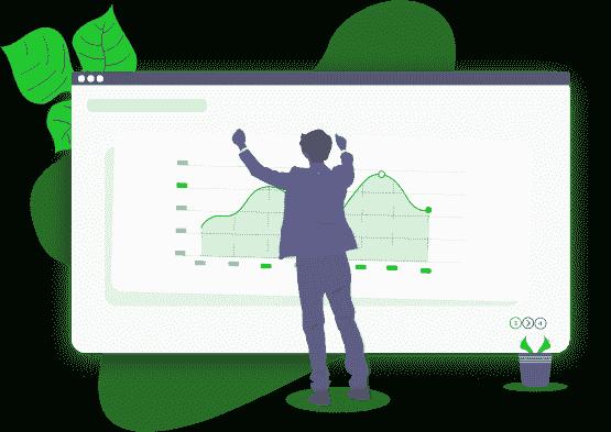 Ilustração de um empreendedor comemorando ao ver um gráfico