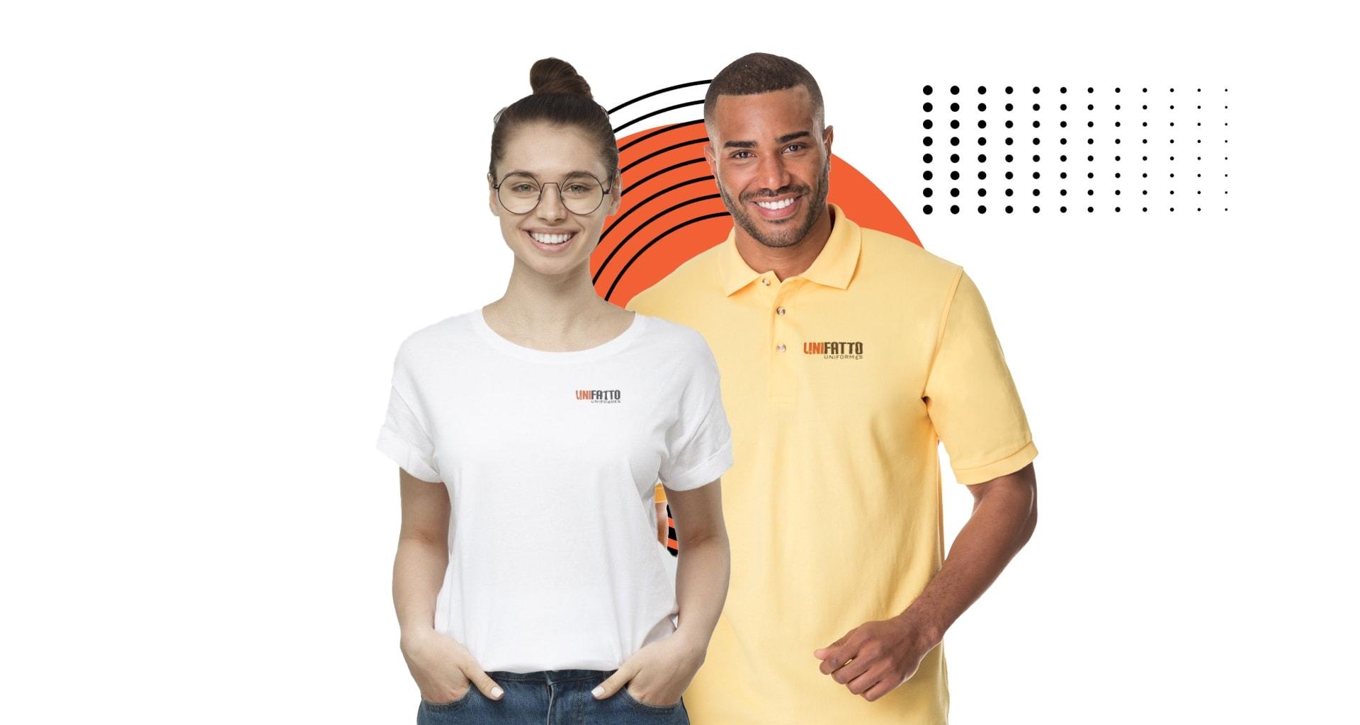 Pessoas usando camisetas gola careca e polo com logo da Unifatto