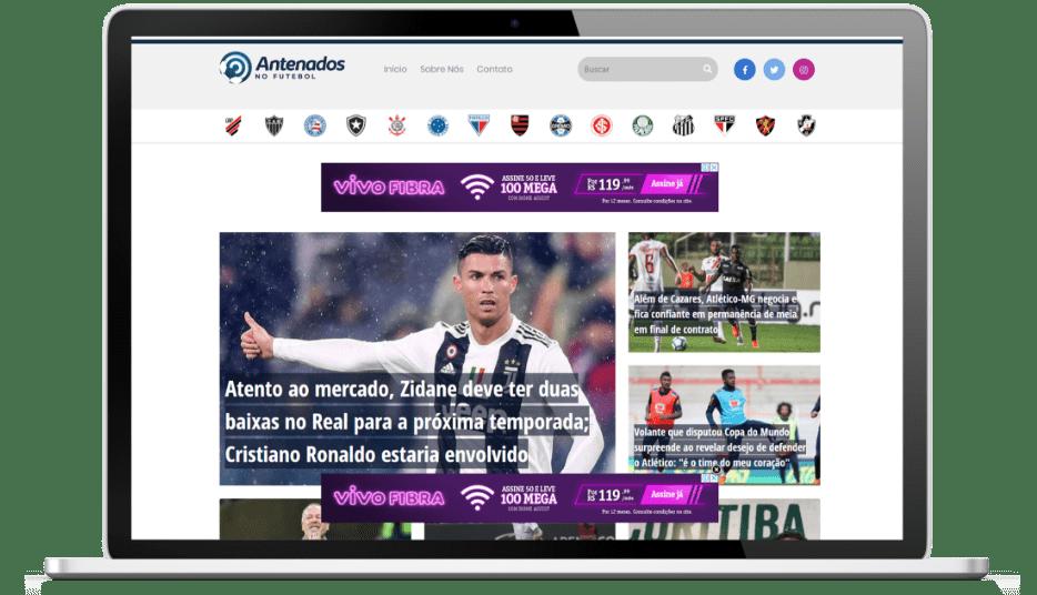 Imagem do site da empresa Antenados no Futebol