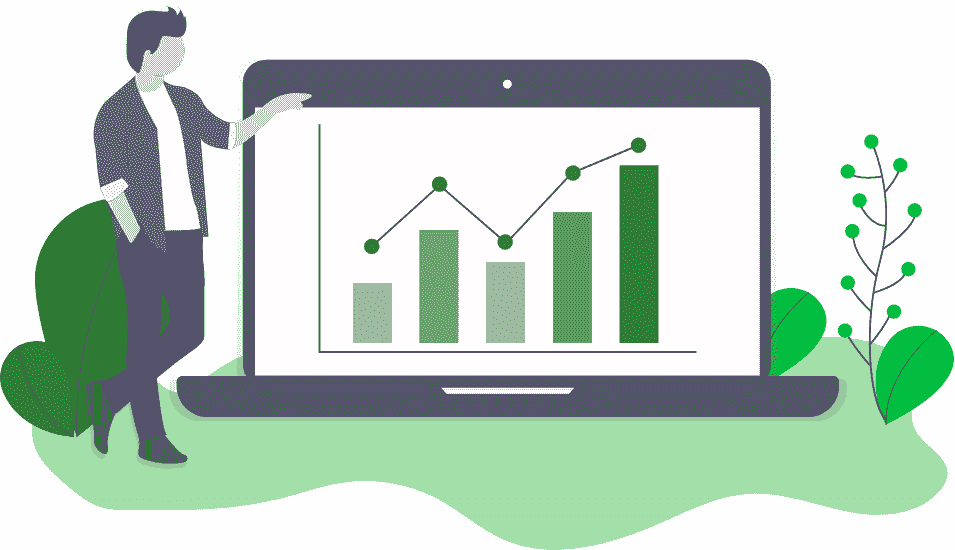 Ilustração de uma empreendedor ao lado de um gráfico