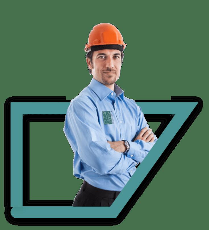 Trabalhador de uma construtora de braços cruzados coma a frase de fundo 'SUA OBRA SEGURA' atrás.